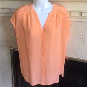 100% Orange Silk Sleeveless Blouse